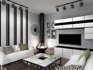 Таунхаус «Кронбург», 3 этажа, 115 кв.м Гостиная в стиле минимализм от Дизайн-студия HOLZLAB Минимализм