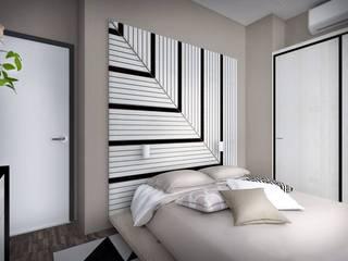 Таунхаус «Кронбург», 3 этажа, 115 кв.м Спальня в стиле минимализм от Дизайн-студия HOLZLAB Минимализм