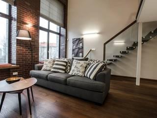 Frameless Glass Balustrade to the floating staircase Modern living room by Inox City Ltd Modern