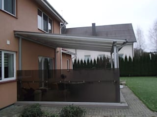 Glass Canopy with steel frame:  Terrace by Inox City Ltd