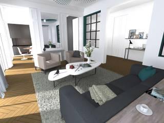 Salon haussmannien contemporain: Salon de style  par A.S Garde architecte d'intérieur