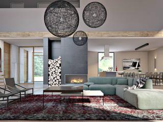 Projekt wnętrz domu pod krakowem MOCOLOCCO Minimalistyczny salon