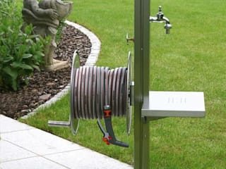 Stainless Steel Garden Tap Station with Hose Reel, Tap and Platform:   by Ingarden Limited
