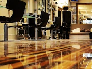 Upmarket St Johns Wood hair salon installs Designer Stripes Mediterranean style walls & floors by Floorless Floors Ltd Mediterranean