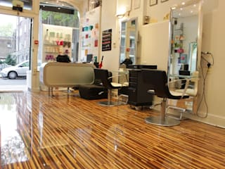 Upmarket St Johns Wood hair salon installs Designer Stripes Eclectic style study/office by Floorless Floors Ltd Eclectic