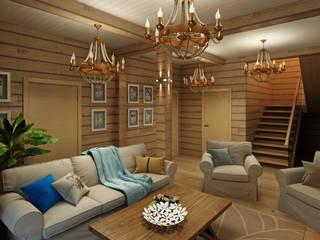 Деревянный дом в Рождественно: Гостиная в . Автор – BM Architects
