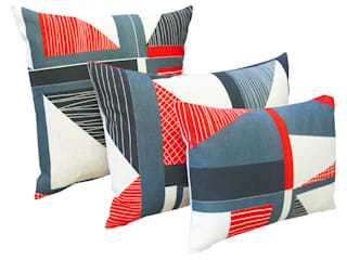 Abstract Square Cushion: Red, Navy, Blue:   by Tamasyn Gambell