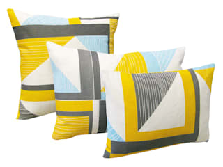 Abstract Square Cushion: Yellow, Blue, Grey:   by Tamasyn Gambell