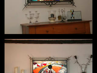 THE WATCHERS - Tableau lumineux en vitrail Tiffany:  de style  par Lumière et Vitrail