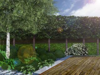 Ogród w skandynawskim stylu w Gdyni: styl , w kategorii  zaprojektowany przez Rock&Flower studio. Pracownia architektury krajobrazu.