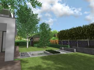 Nowoczesny ogród z betonowymi murkami na poznańskim Strzeszynie: styl , w kategorii  zaprojektowany przez Rock&Flower studio. Pracownia architektury krajobrazu.