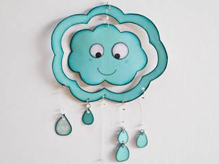 Petit mobile NUAGE double face (nuage souriant):  de style  par Les Petits Pois sont Bleus