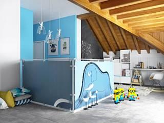 """Piano sottotetto - Kid's floor - la  stanza del """"Piccolo Principe"""": Stanza dei bambini in stile in stile Moderno di valentina bandera STUDIO"""