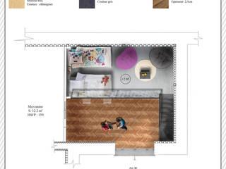 Plan colorimétrique de la mezzanine de la chambre d'enfant:  de style  par POSITIV'AGENCEMENT