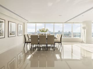 Large penthouse dining room with spectacular view over central London:  Dining room by Porcel-Thin