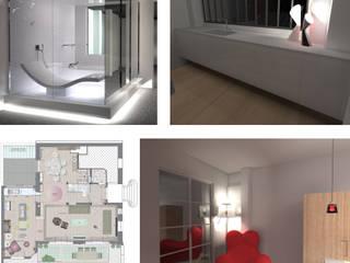 Escalier en béton ciré: Couloir et hall d'entrée de style  par ColletDesign