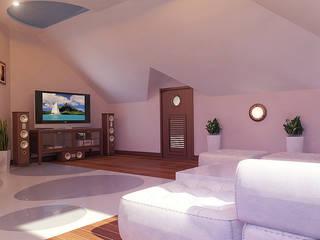 Мансардный этаж Гостиная в стиле минимализм от Architoria 3D Минимализм