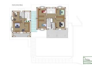 Casa FP - Pianta piano primo:  in stile  di Studio Forza Ceccato architetti associati