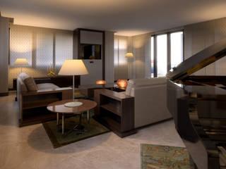 Attico a Dubai - soggiorno 03: Soggiorno in stile  di Fisheye Studio di Paolo Mazzoccato