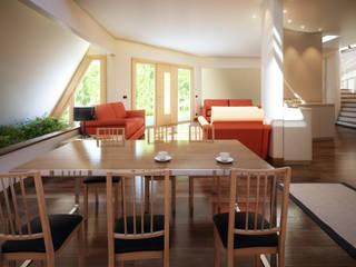 Tyronset house - soggiorno 01: Soggiorno in stile  di Fisheye Studio di Paolo Mazzoccato
