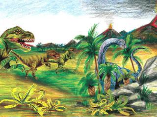 Bordüre - Urzeit Dinos: moderne Kinderzimmer von Mein Bordürenladen