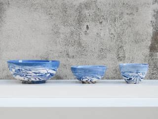 Blue and White Ceramic Bowls:   by Nom Living