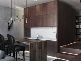 Лофт-Апартаменты в ж.к. TriBeCa: Кухни в . Автор – Oh, Boy! Интерьеры с мужским характером