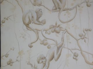 Half Drop Pattern Wallpaper- Grisaille Monkeys:   by Eades Bespoke