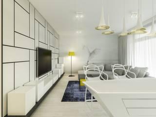 Warszawa Wilanów - mieszkanie 85 m kw. Nowoczesny salon od Casa Marvell Nowoczesny