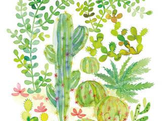 Mes cactus aquarellés: Salon de style de style eclectique par Thévy Guex