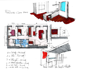 Planimetria schizzi Studio moderno di MedomStudio Moderno