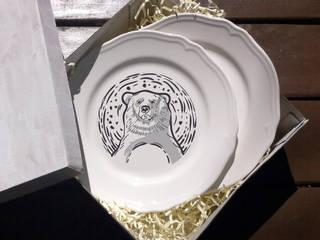 Тарелка с лого. Именная тарелка. Деколь:  в . Автор – Shatreez