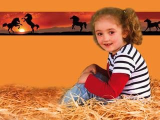 Bordüre - Wildpferde: rustikale Kinderzimmer von Mein Bordürenladen