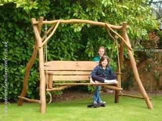 EKOMEBEL huśtawka 3-osobowa: styl , w kategorii  zaprojektowany przez Ekomebel - dębowe meble ogrodowe