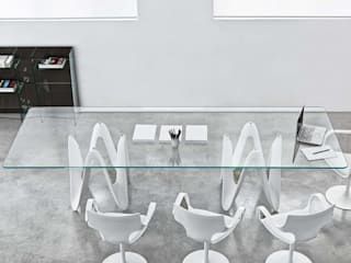 Lambda Glass Dining Table:   by Glassdomain