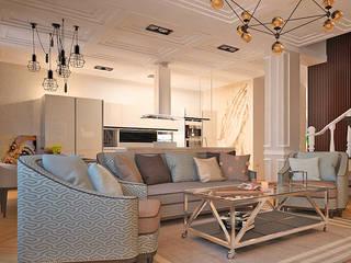 Изящный, спокойный, упорядоченный... Гостиные в эклектичном стиле от DARIA_MEZENTSEVA Эклектичный