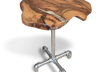 walnut, resin & scaffold console table:   by Handmade in Brighton