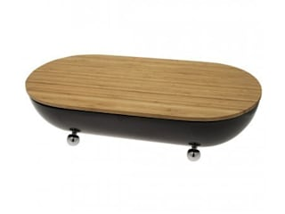 Boite à pain métal noir planche bambou par COP3P Moderne