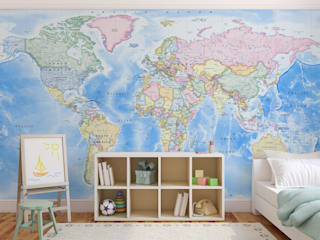 World Map Wallpaper Love Maps On Ltd. Dormitorios infantiles Accesorios y decoración