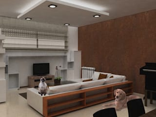 Come una parete colorata può cambiare lo spazio Soggiorno moderno di Architetti StudiOppure Moderno