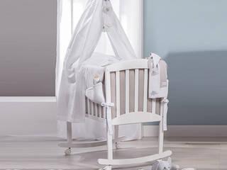 'Miro' Italian white/coffee rocking crib with veil by Picci de My Italian Living Moderno Madera Acabado en madera