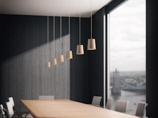 Solid Pendant Cones in Natural Oak:  Office buildings by Terence Woodgate