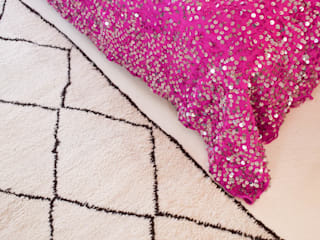 Moroccan Sequined Wedding Blanket Hot Pink Detail:   by M.Montague Souk