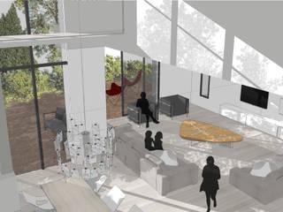 Projet P - maison en 3D: Salon de style  par AGENCE D'ARCHITECTURE BRAYER-HUGON