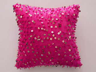 Moroccan Sequined Wedding Blanket Cushion Hot Pink:   by M.Montague Souk