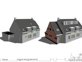 3D schets - voor en na verbouwing:   door NarrativA architecten