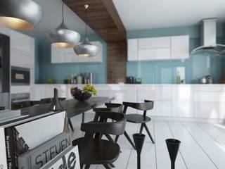 ROAS ARCHITECTURE 3D DESIGN AGENCY Cocinas de estilo moderno