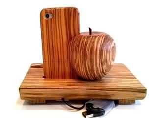 Dockingstation Holz für Apple iPhone 4, 4s, Ladestation aus Zebrano Wood inkl. Case von Holz und Licht Ausgefallen