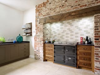 The Great Lodge | Large Grey Painted Kitchen with Exposed Brickwork Humphrey Munson Country style kitchen