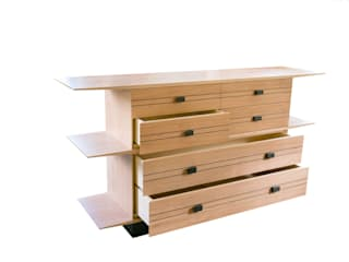 Chest of drawers of American cherry and 3000 year old bog oak: minimalist  by Andrew Lawton Furniture, Minimalist